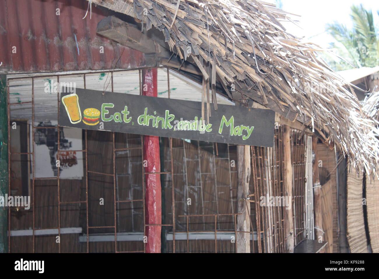 Trinken Essen und Maria. Stockbild