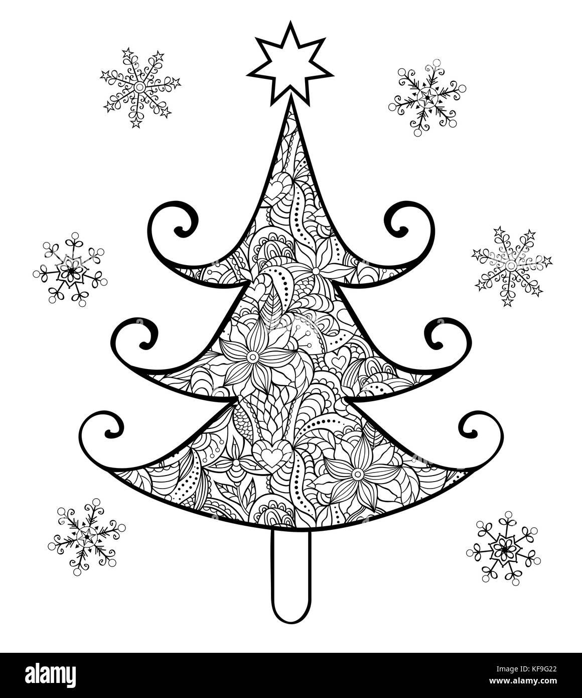 Weihnachtsbaum Gezeichnet.Hand Weihnachtsbaum Gezeichnet Vektor Abbildung Bild 164323322