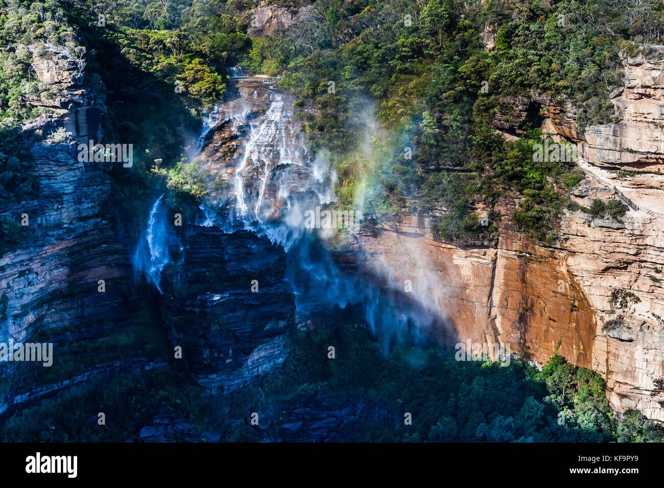 Starker Wind verhindert Katoomba Falls fallen. Blue Mountains National Park, NSW, Australien Stockbild