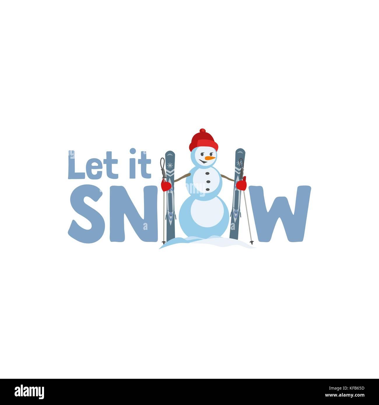 Urlaub Wünschen Lassen Sie Es Schneien Fancy Buchstaben Cartoon