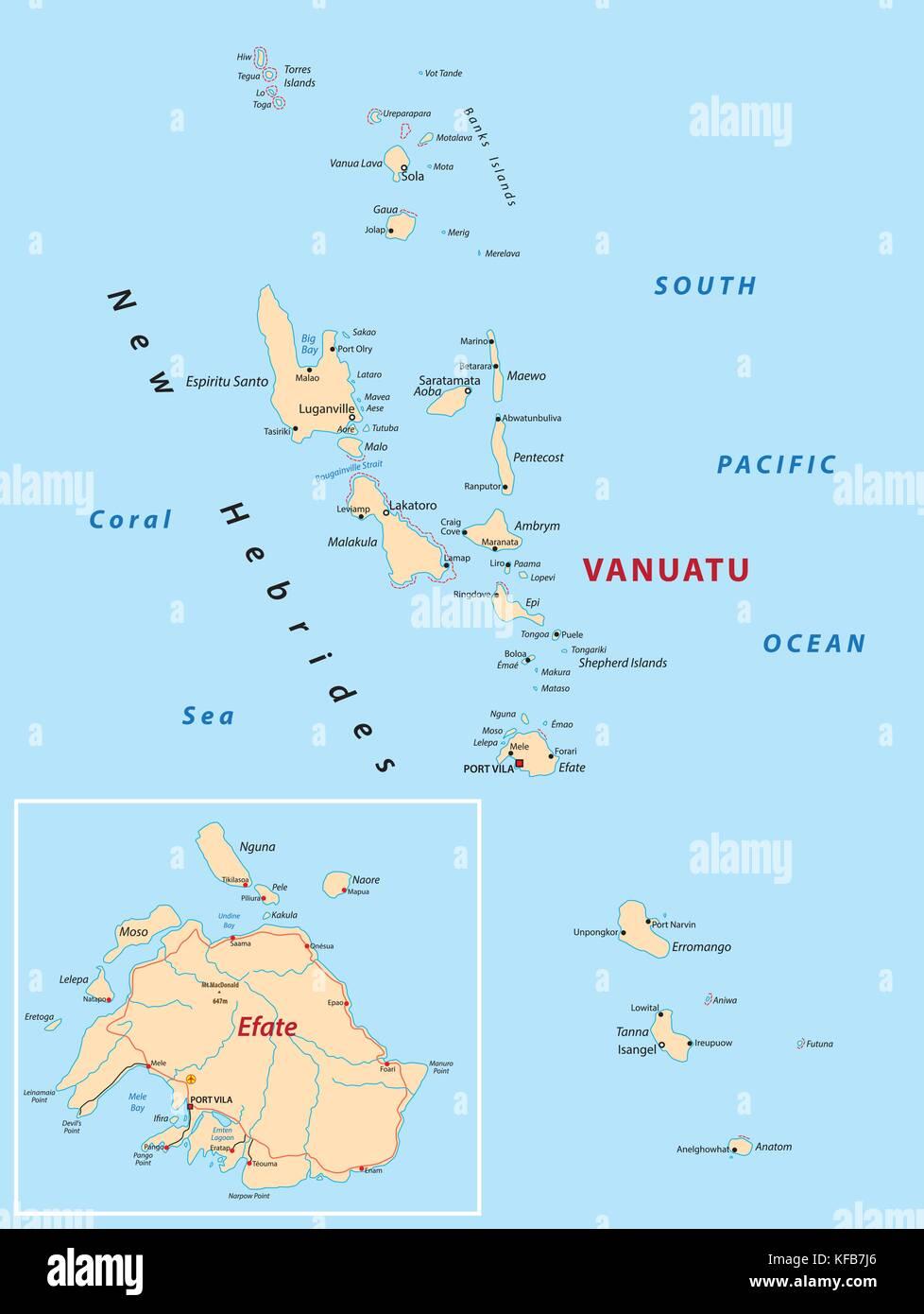 Vanuatu Karte Vektor Abbildung Bild 164360622 Alamy