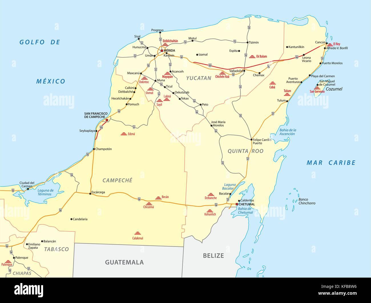 yucatan karte Karte von Yucatan mit den wichtigsten Maya Ruinen Vektor Abbildung  yucatan karte