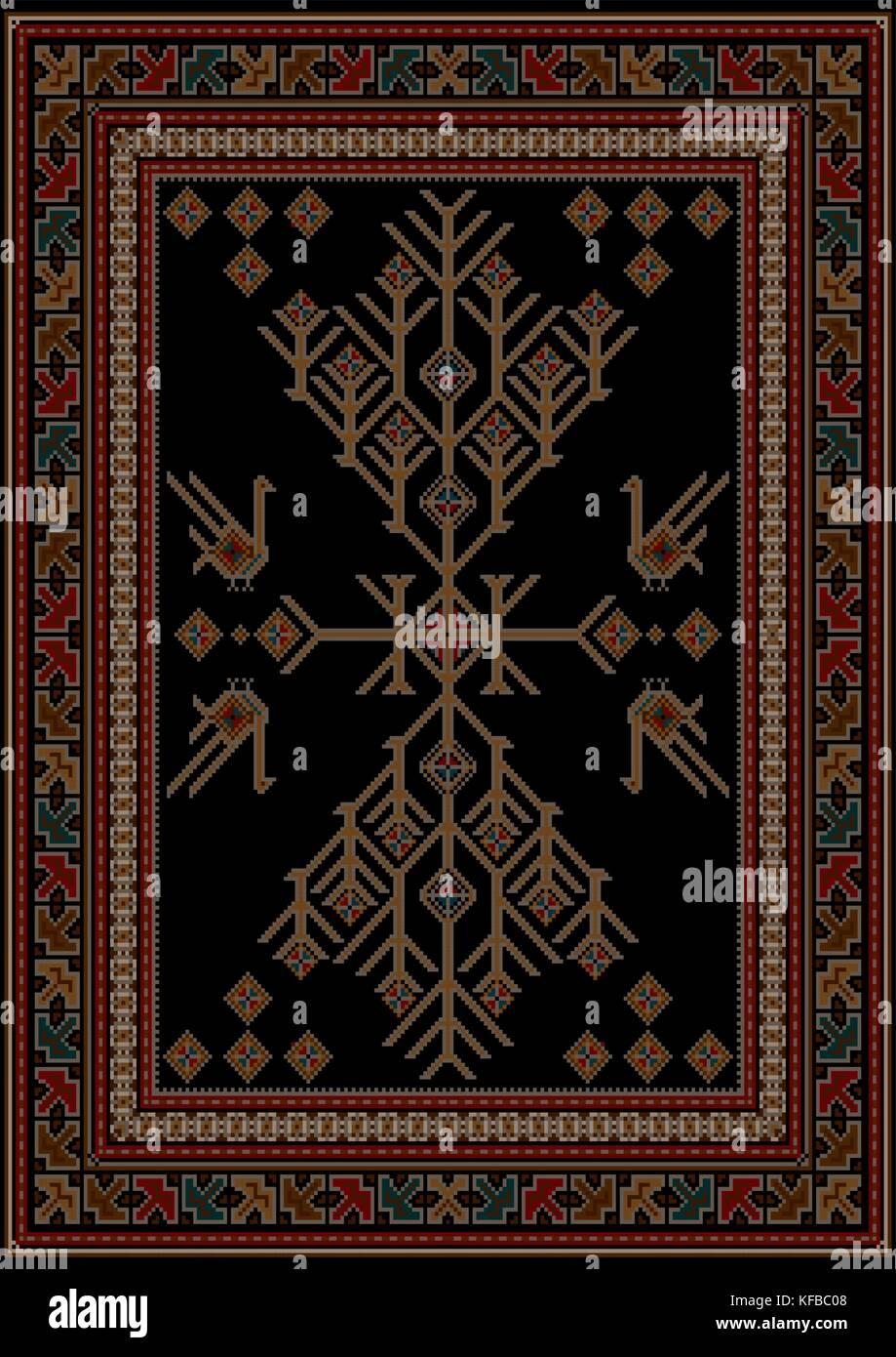 Luxus Teppich luxus teppich mit ethnischen gemusterten baum, und die vögel in der
