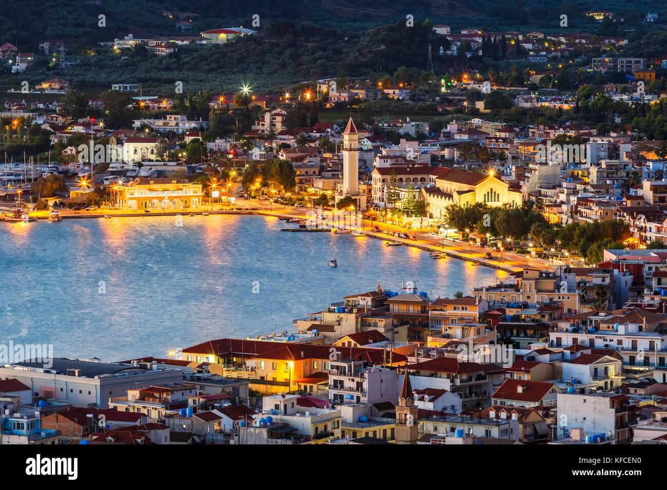 Hafen von Zakynthos Stadt wie von bochali Sicht gesehen, Griechenland. Stockbild