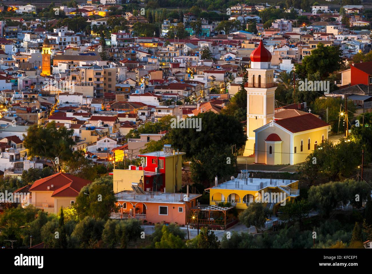 Die Stadt Zakynthos ab Bochali Sicht gesehen, Griechenland. Stockbild