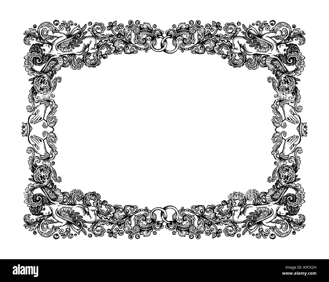 Vector Illustration von Vintage Hochzeit vignette frame-renaissance ...
