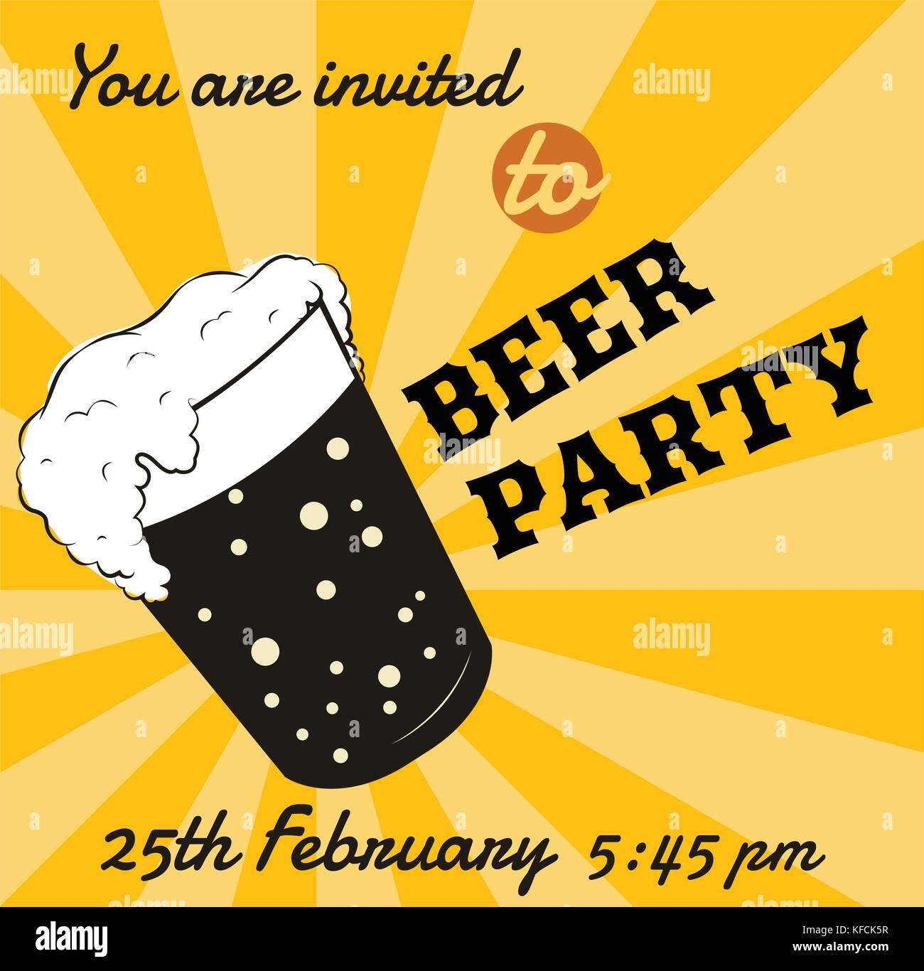 Vector retro Bier Glas Einladungskarte oder Event Plakat Vorlage. Stockbild