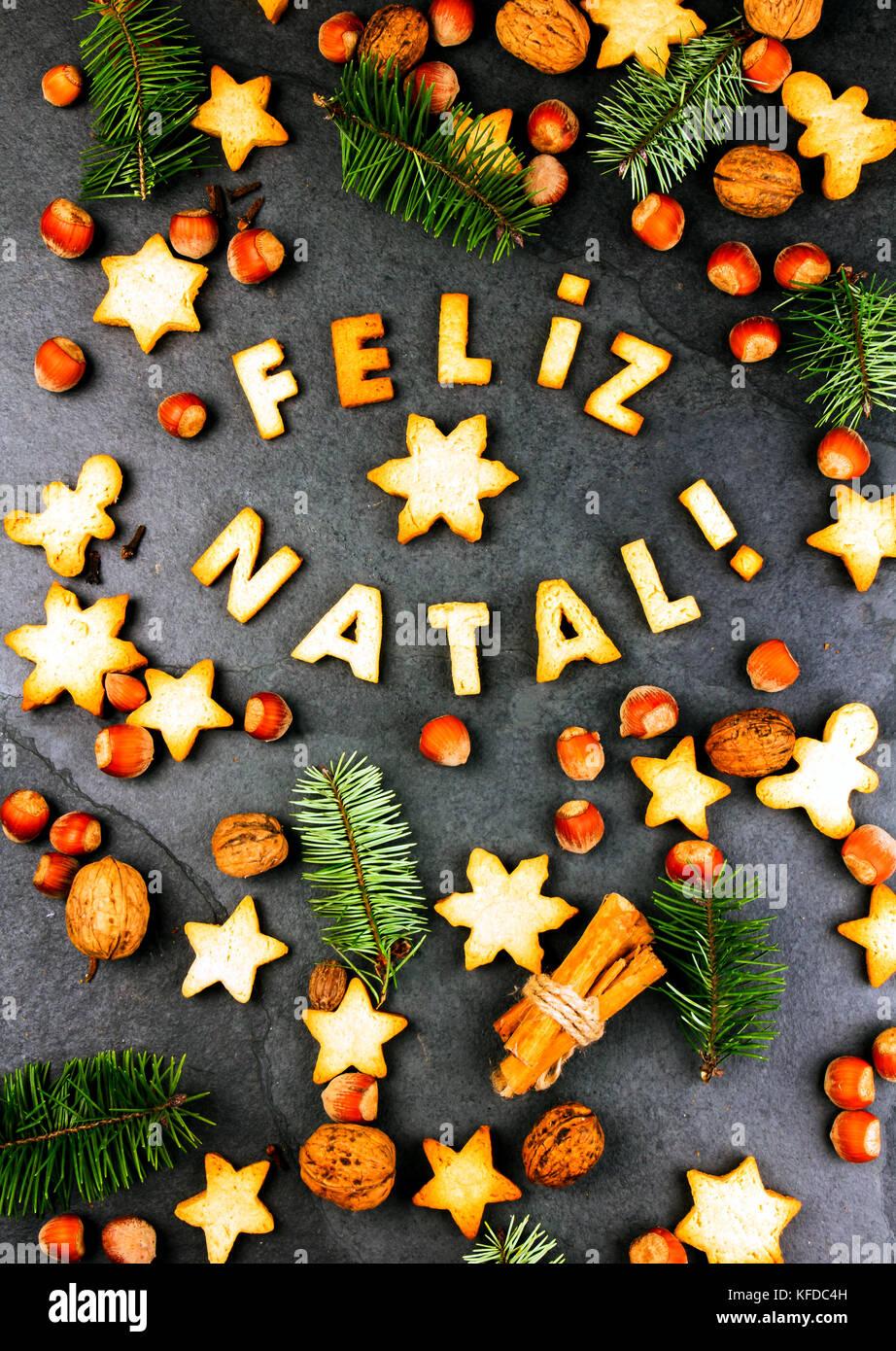 FELIZ NATAL COOKIES. Wörter Frohe Weihnachten en Portugiesisch mit ...