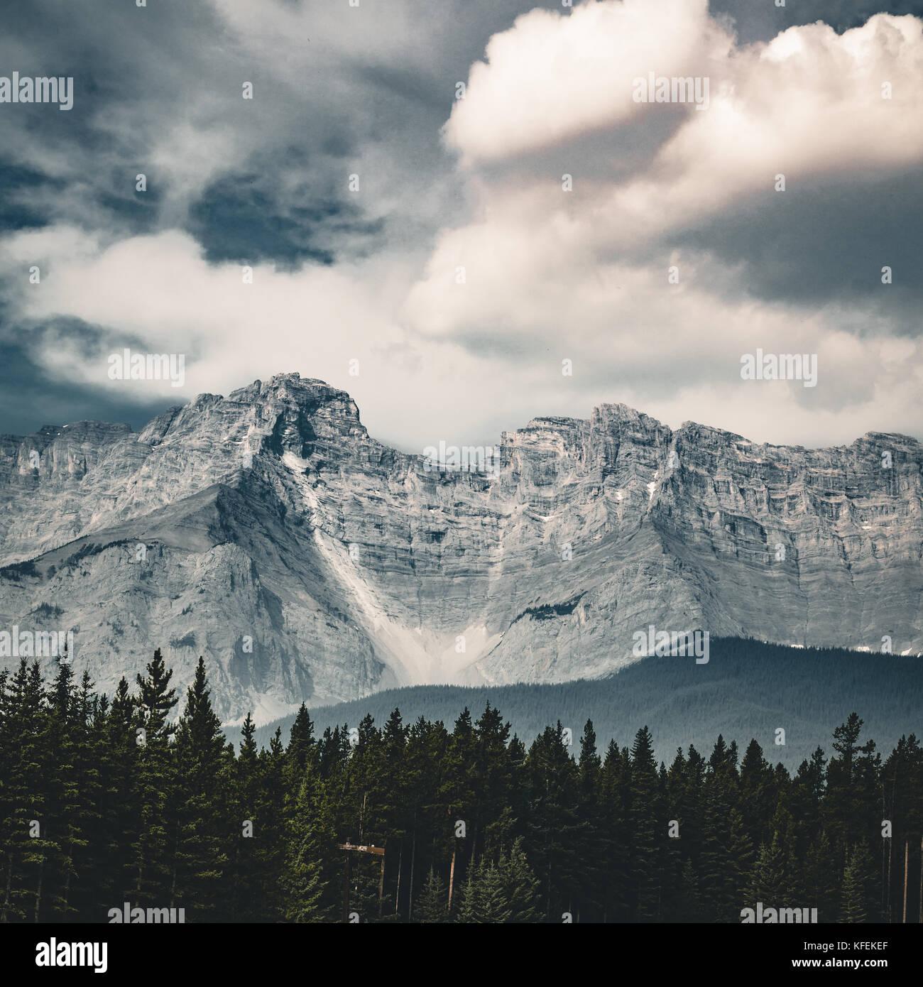 Leere Straße mit Bergpanorama im Banff National Park, cana Stockbild