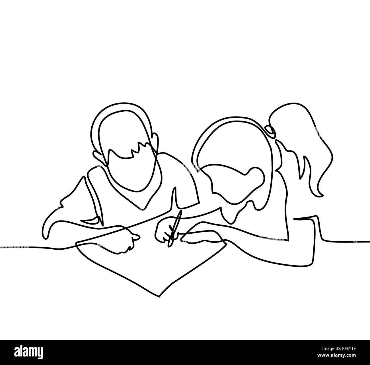 junge und m dchen zeichnen auf papier zur ck zum konzept. Black Bedroom Furniture Sets. Home Design Ideas