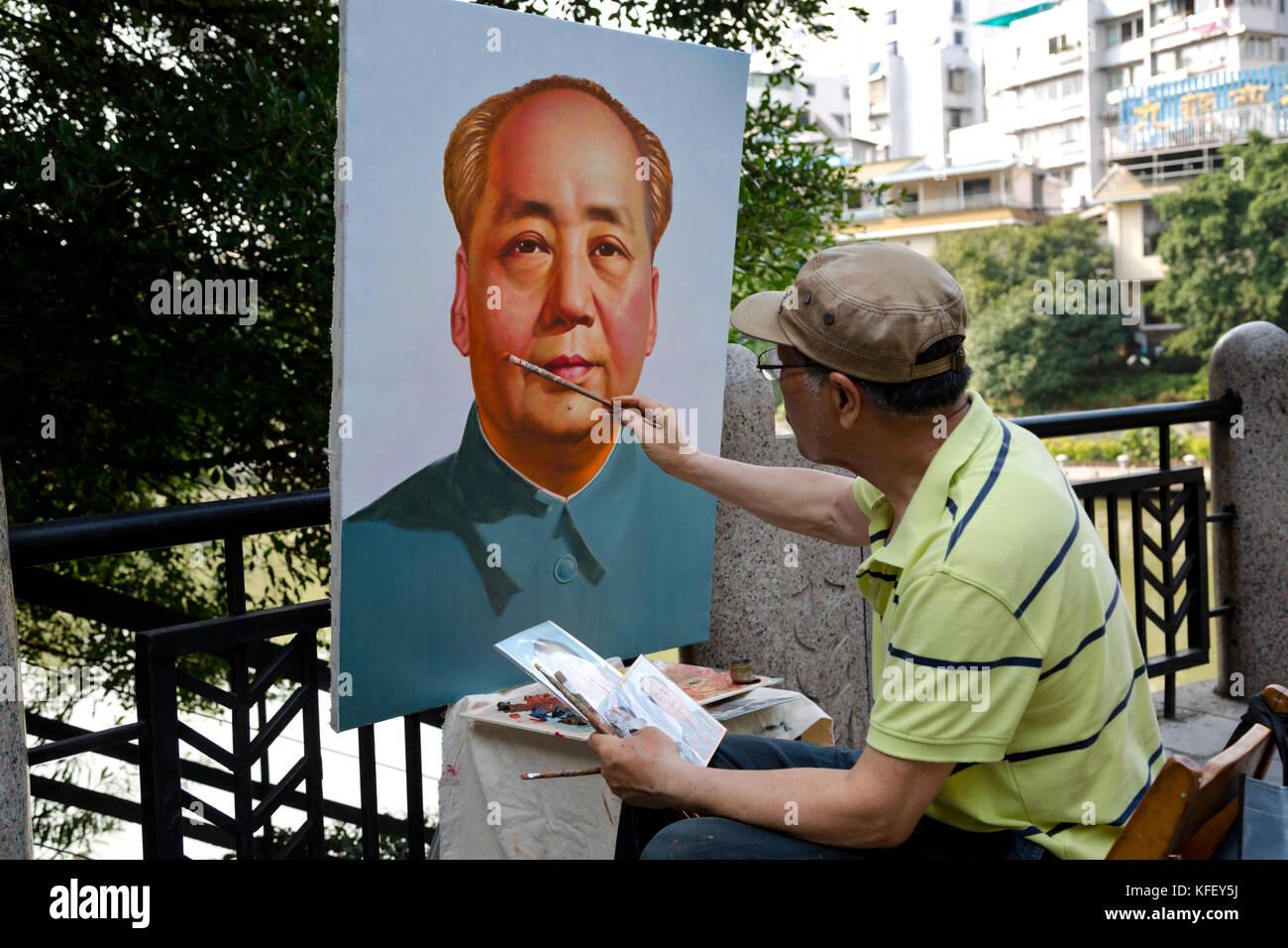 Der Künstler Malt Ein Portrait Der Chinesischen Führer Mao Zedong Im