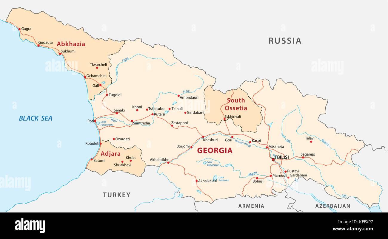 Georgien Karte Regionen.Karte Von Georgien Vektor Abbildung Bild 164463439 Alamy