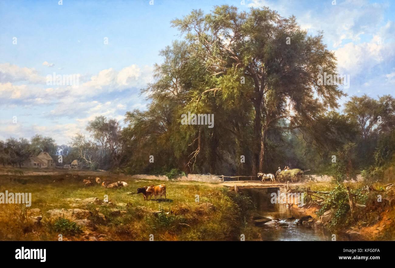 Das alte Gehöft von James McDougal Hart (1828-1901), Öl auf Leinwand, 1862 Stockbild