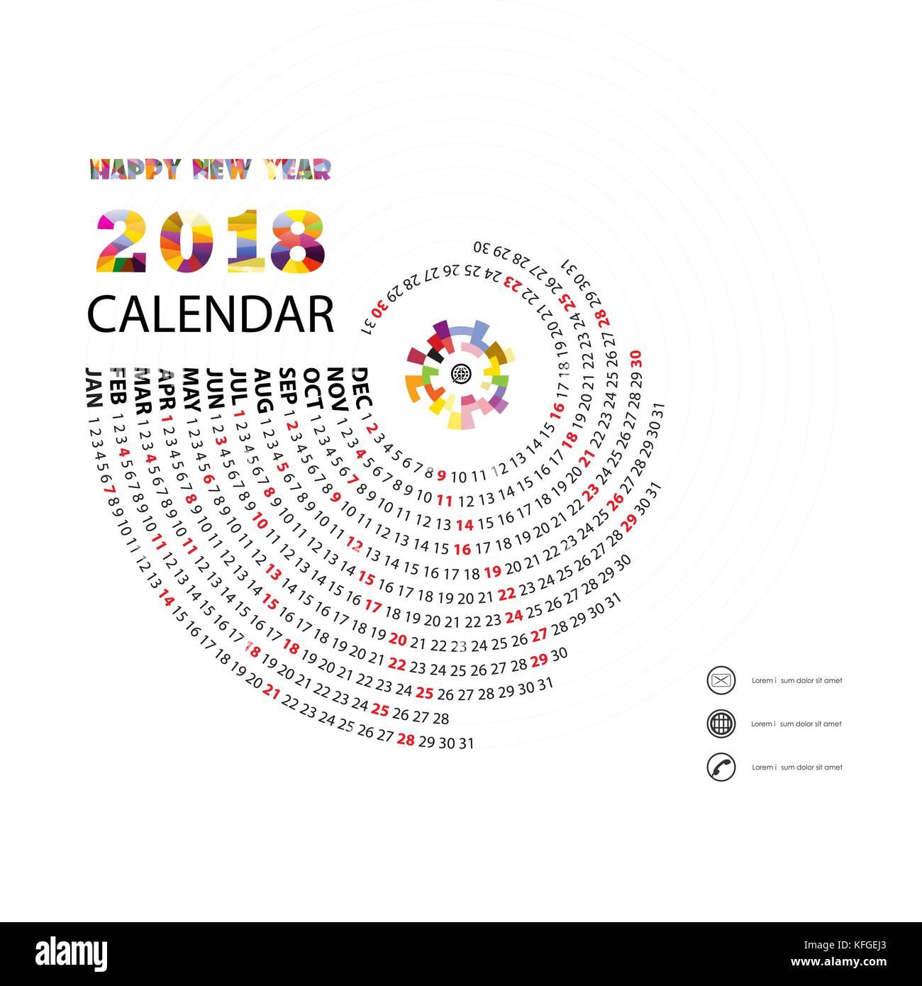 2018 vorlage kalender spirale kalender kalender 2018 12 monate vektor design briefpapier. Black Bedroom Furniture Sets. Home Design Ideas