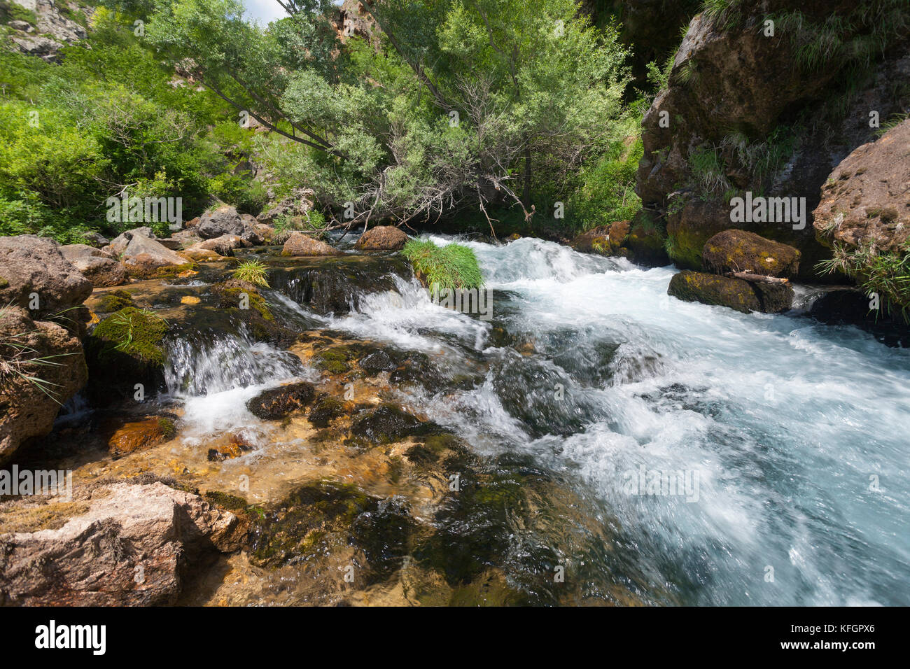 Stromschnellen und Wasserfälle auf der Leber sind geschaedigt Krcic in Kroatien Stockbild
