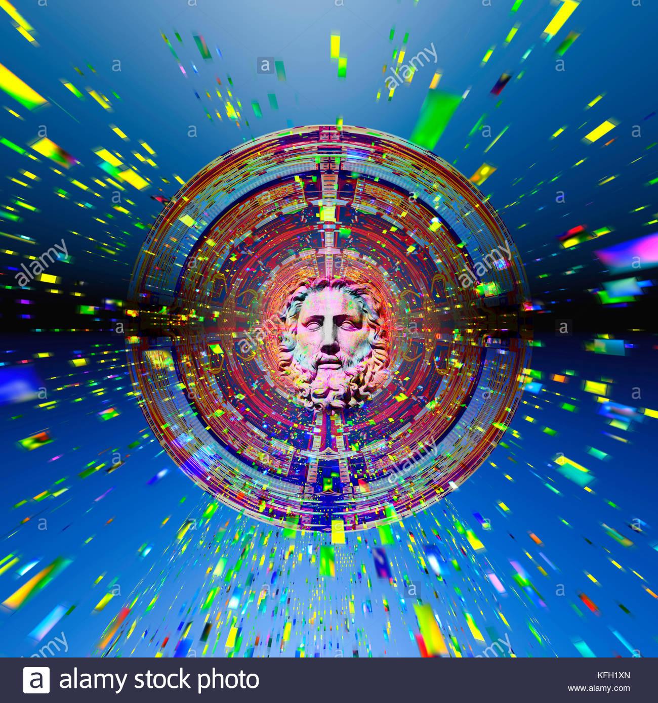 Künstliche Intelligenz, die sich aus einem Computer netzwerk Wissenschaft und Religion Gott die Singularität Stockbild