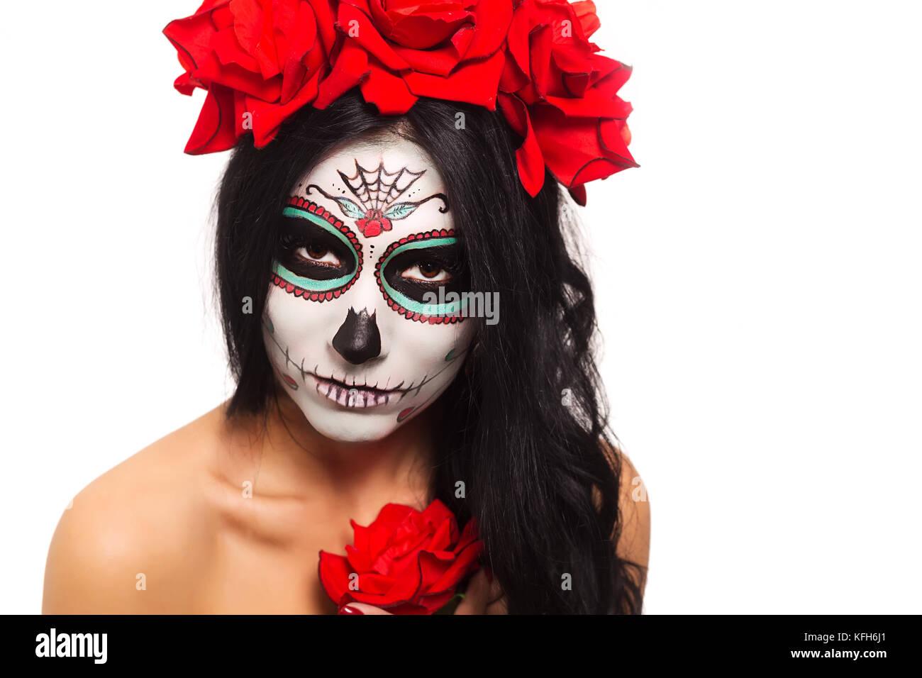 Tag Der Toten Halloween Junge Frau In Tag Der Toten Maske Skull