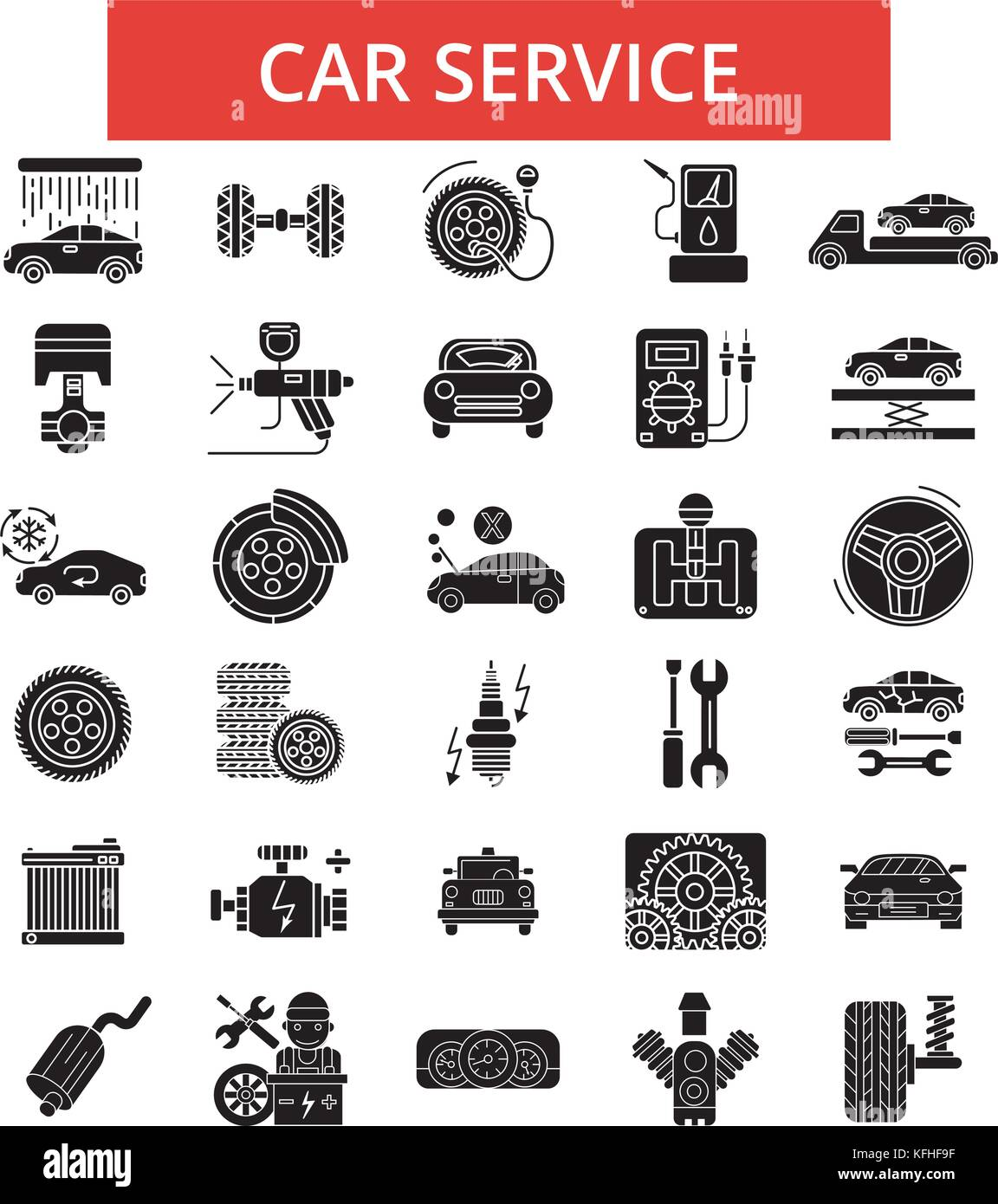 auto service abbildung d nne linie symbole lineare. Black Bedroom Furniture Sets. Home Design Ideas