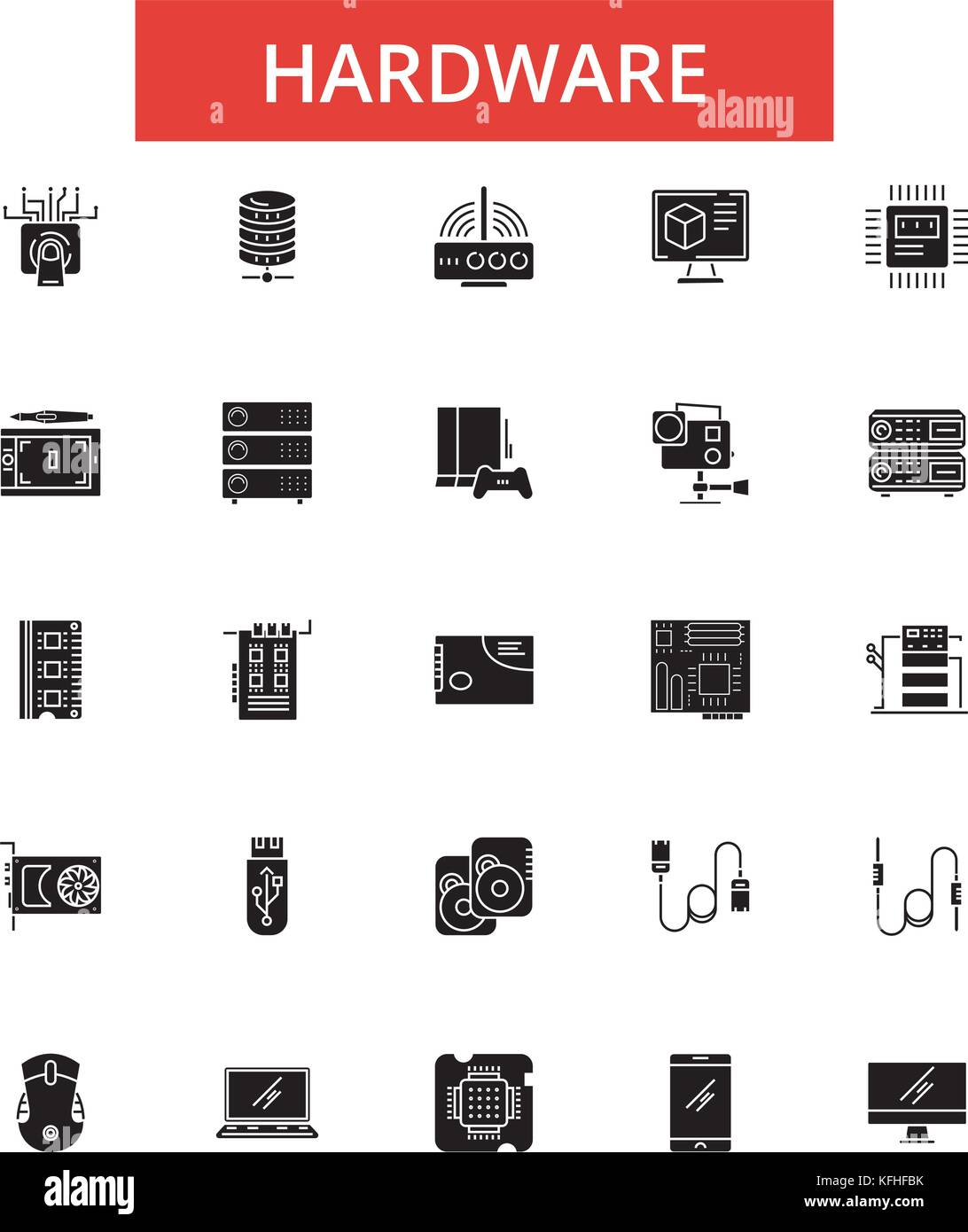 Hardware Abbildung, dünne Linie Symbole, lineare Flachbild Zeichen ...