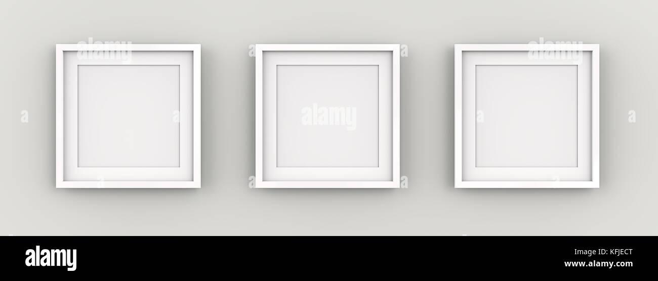 Reihe mit 3 quadratischen weißen Rahmen auf der Wand mit weißem ...