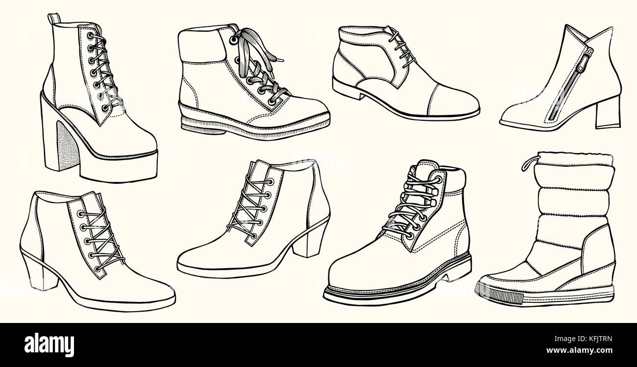 Hand Gezeichnet Vektor Einrichten Schuhe Kreative Tinte Kunstwerke