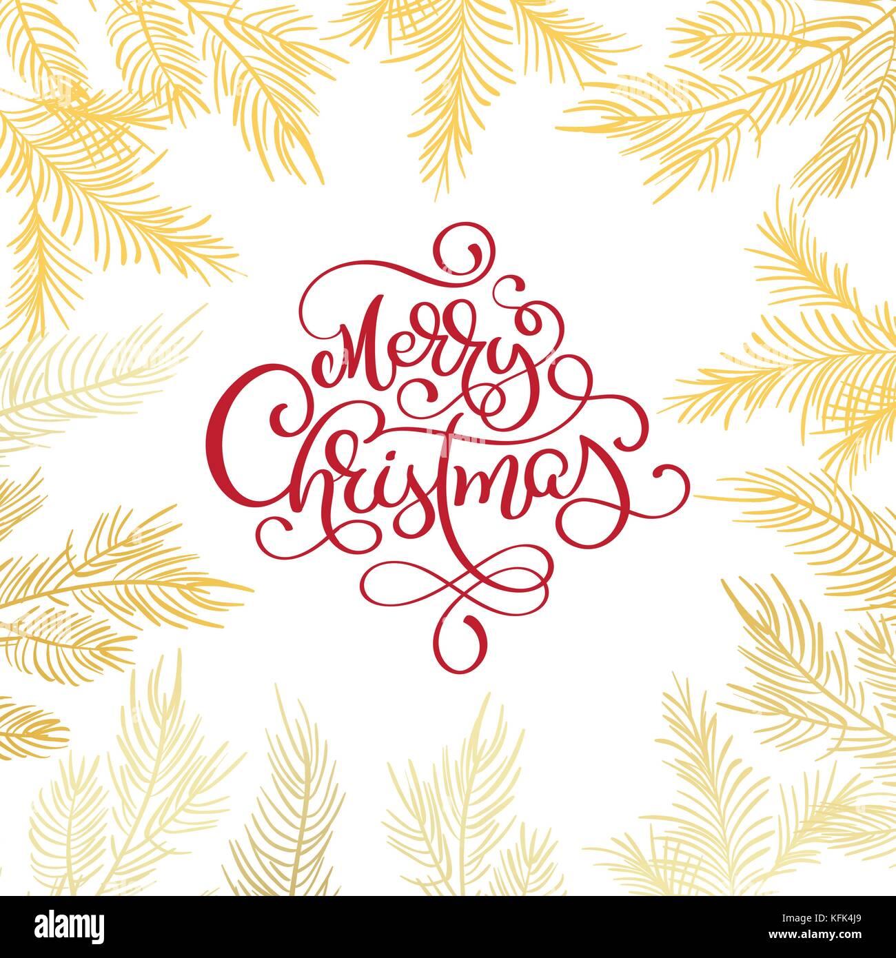 Frohe Weihnachten text und Tannenbaum Grenze Vector Illustration ...