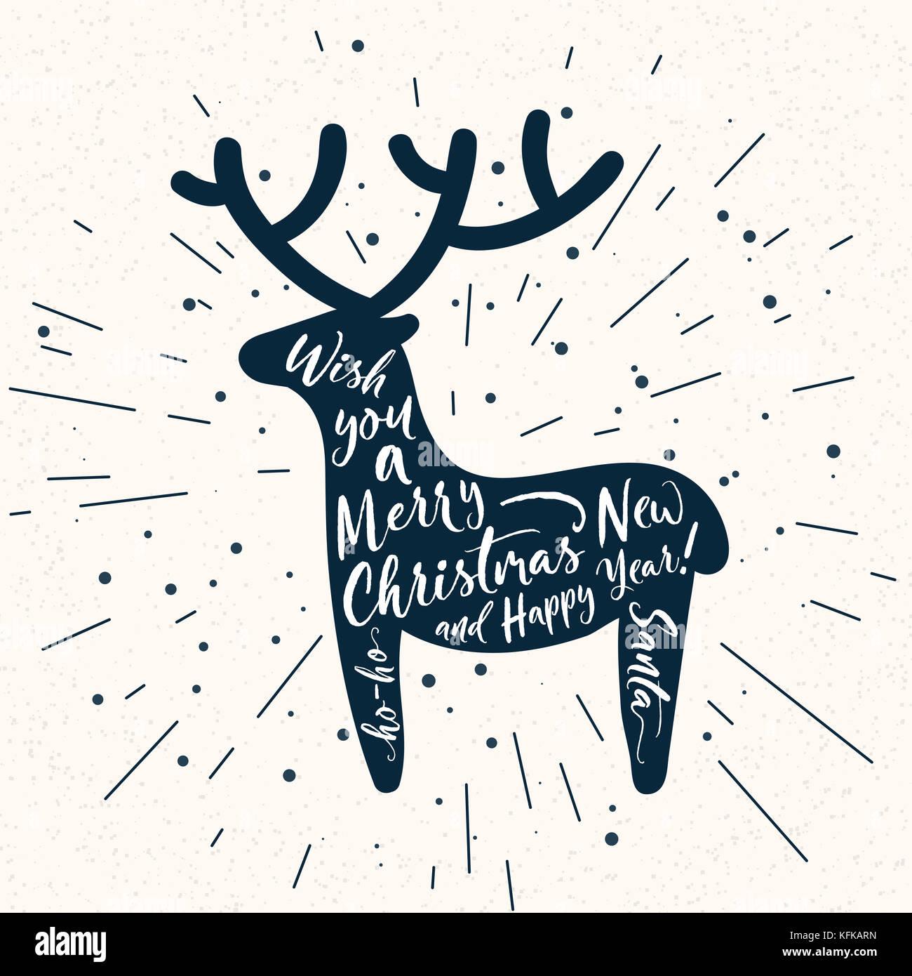 Poster mit Rehen Silhouette mit Schriftzug auf weißem. Weihnachten ...