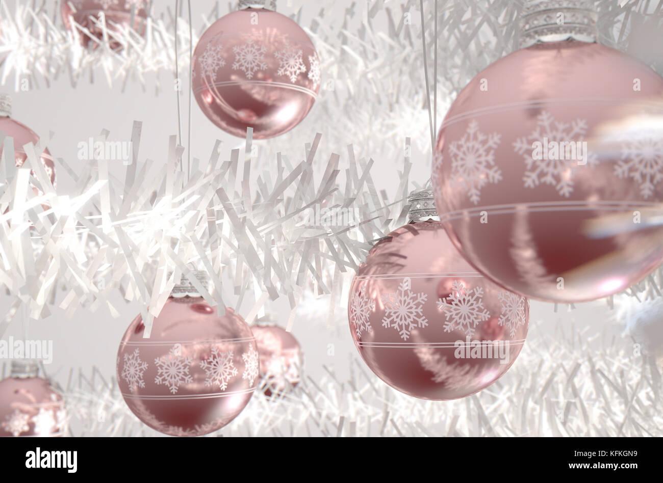 Christbaumkugeln Rose.Rose Gold Weihnachtskugeln Mit Fein Verzierten Schneeflocke