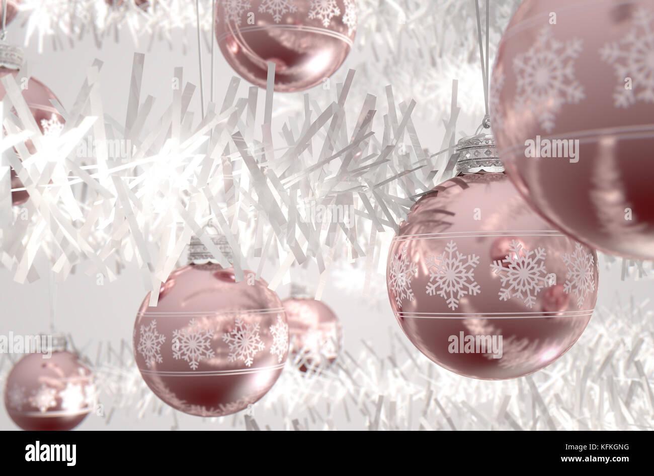 Christbaumkugeln Rosegold.Rose Gold Weihnachtskugeln Mit Fein Verzierten Schneeflocke