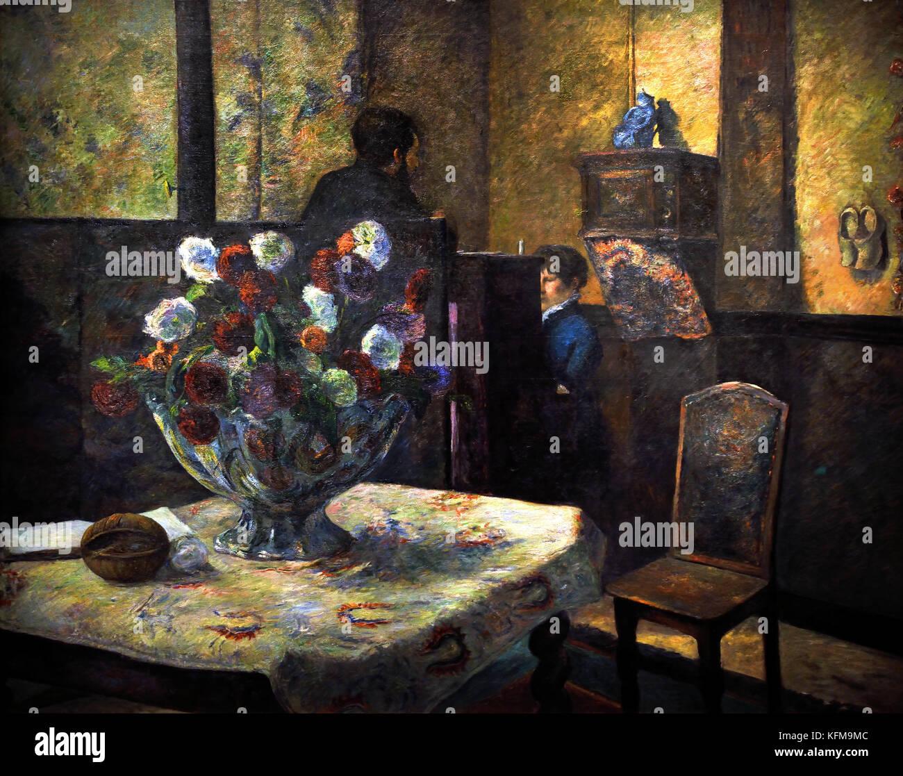 Fleurs, Nature Morte - Interieur du peintre Rue Carcel - Blumen, Stillleben - Interieur des Malers, Carcel Straße Stockbild