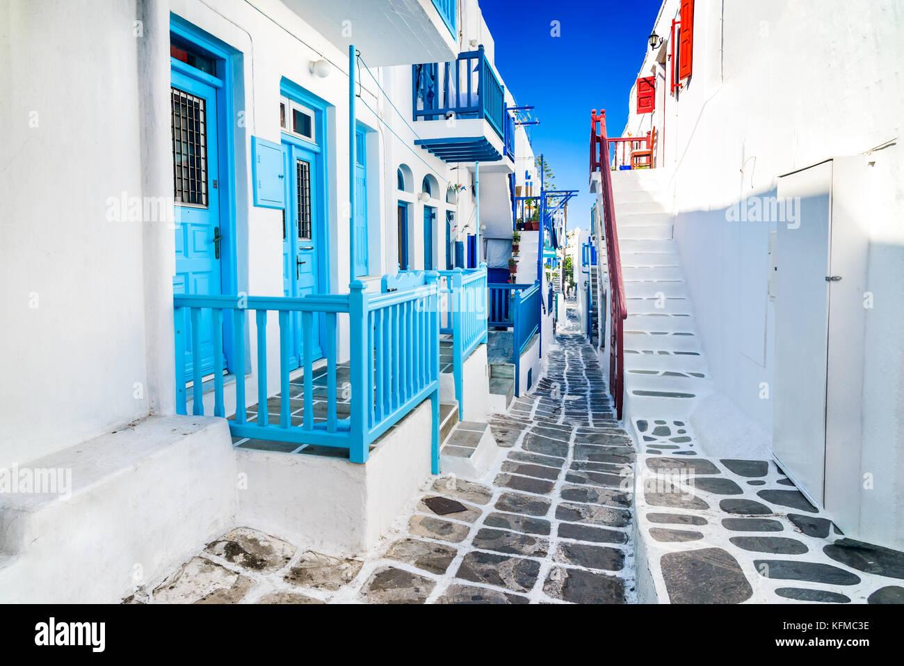 Mykonos, Griechenland. Weiß getünchtes gepunktete Gasse in der Altstadt, Kykladen griechische Inseln. Stockbild