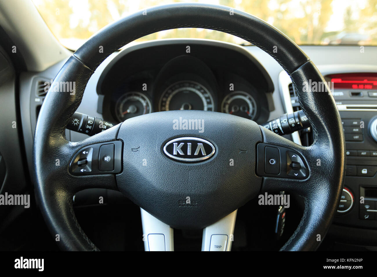 DNIPRO, UKRAINE - September 05, 2017: Kia Ceed, Interieur, RAD CLOSE ...