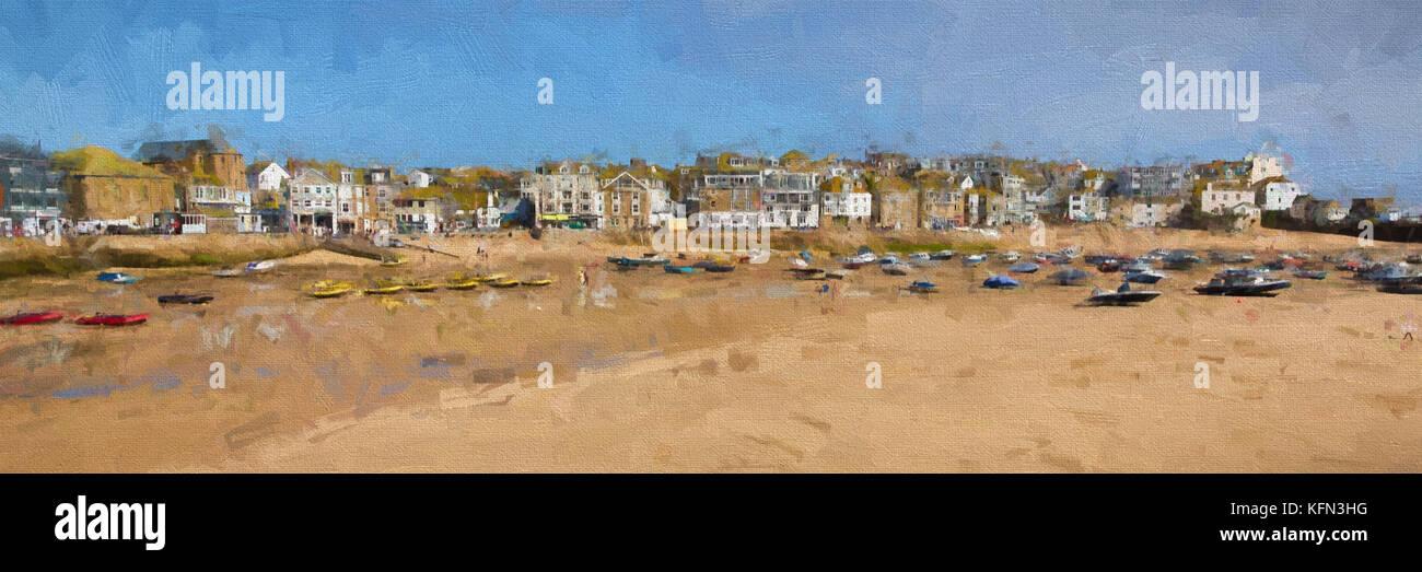 St Ives Cornwall uk Hafen Abbildung wie Öl malerei Panoramaaussicht Stockbild