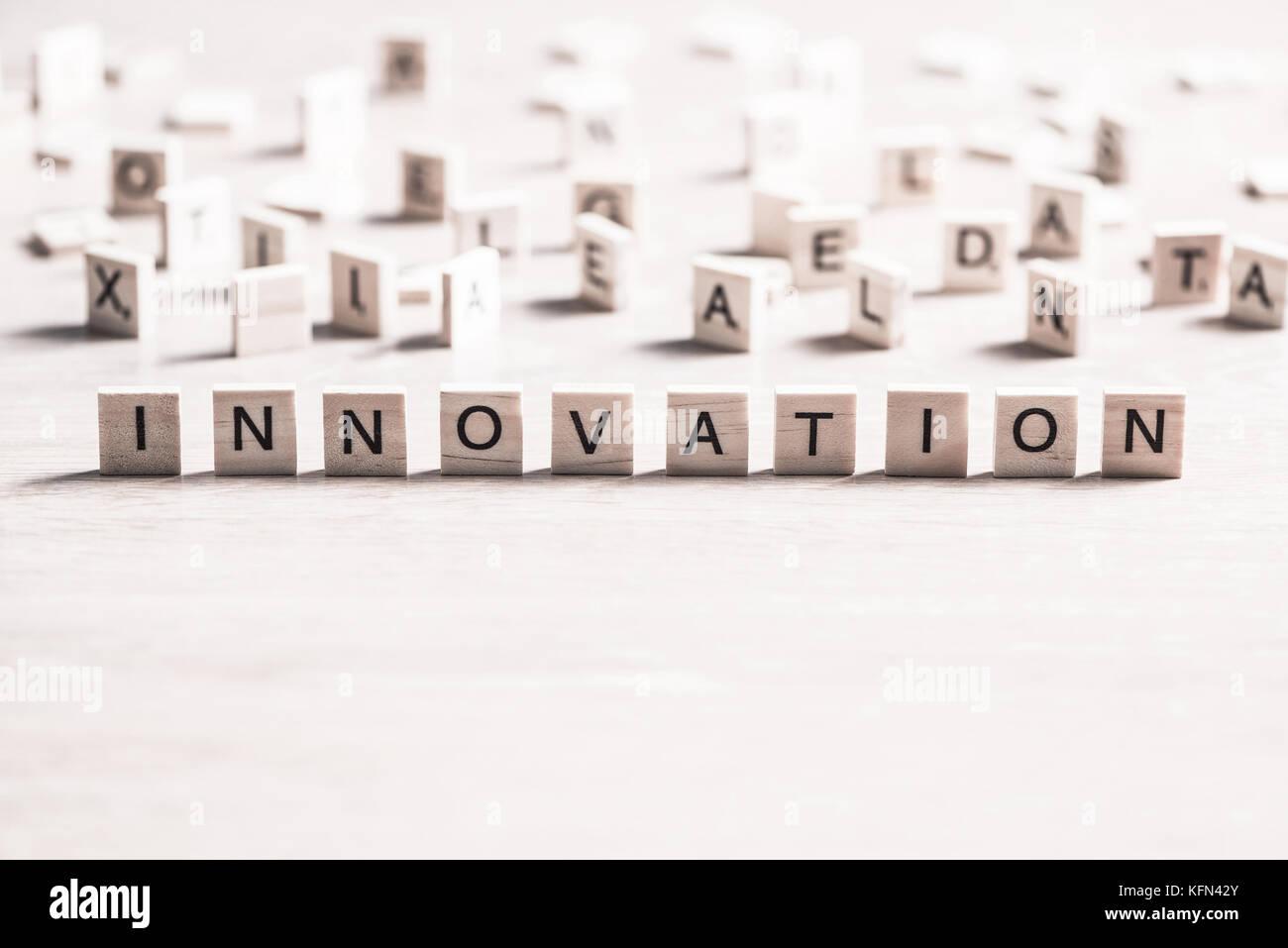 Innovation scrabble Word Stockbild