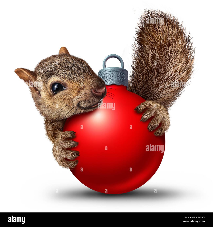 Weihnachten niedlich Eichhörnchen mit einem Weihnachten Kugel ...