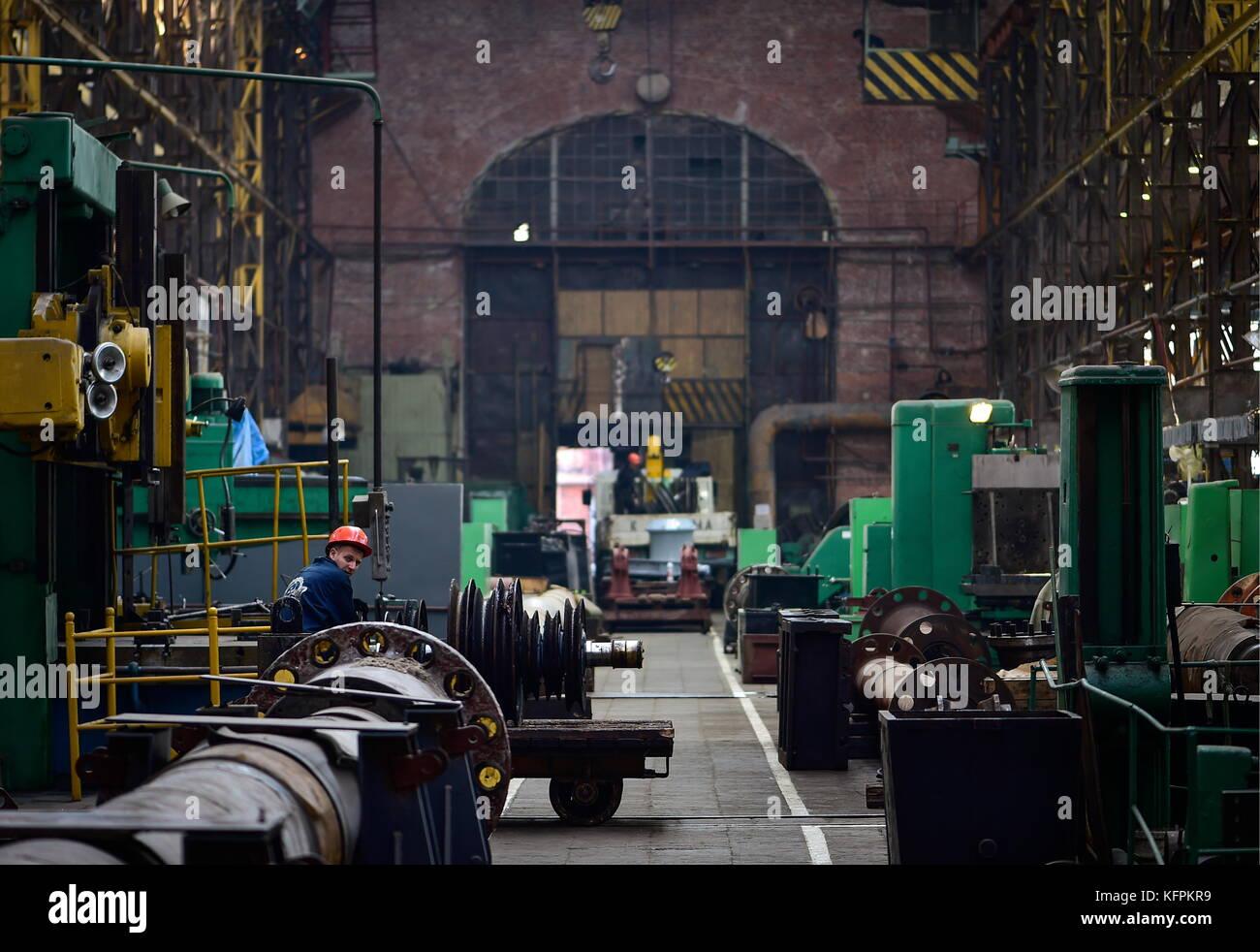 Wladiwostok, Russland. 30 Okt, 2017. Innerhalb der mechanischen Montage am dalzavod ship Repair Center in Wladiwostok, Stockfoto