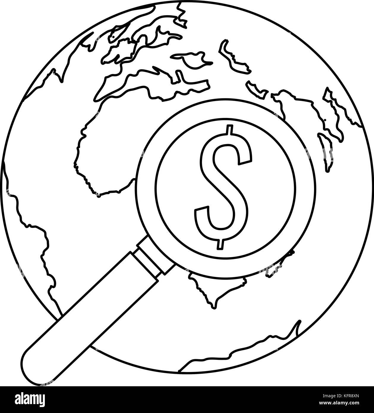 Welt der Planet Erde mit Lupe gkass Stockbild