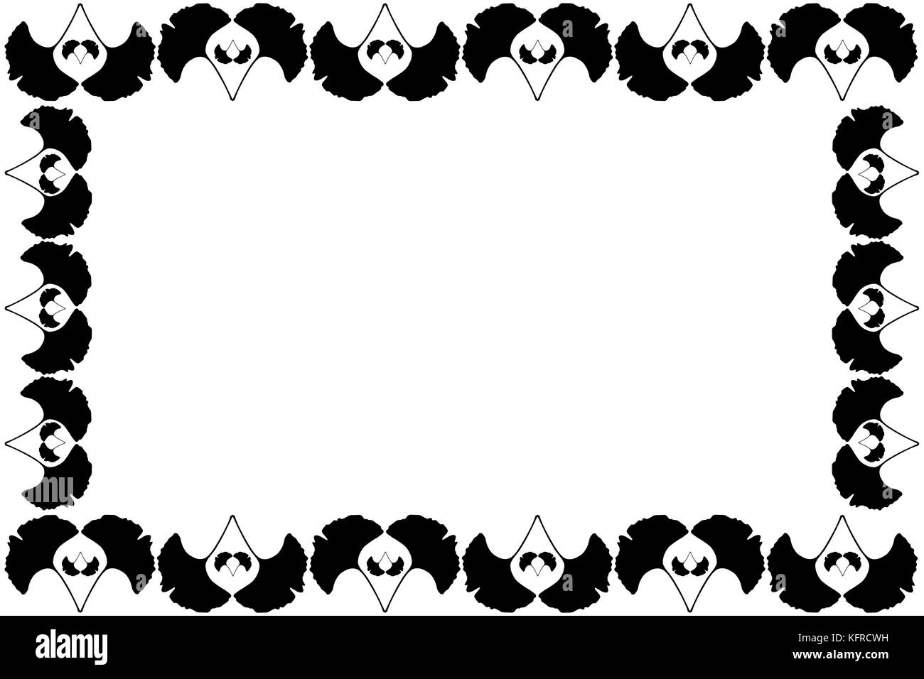 Ginkgo leaf-Vector schwarzer Rahmen, (Ginkgo biloba Vektor Abbildung ...