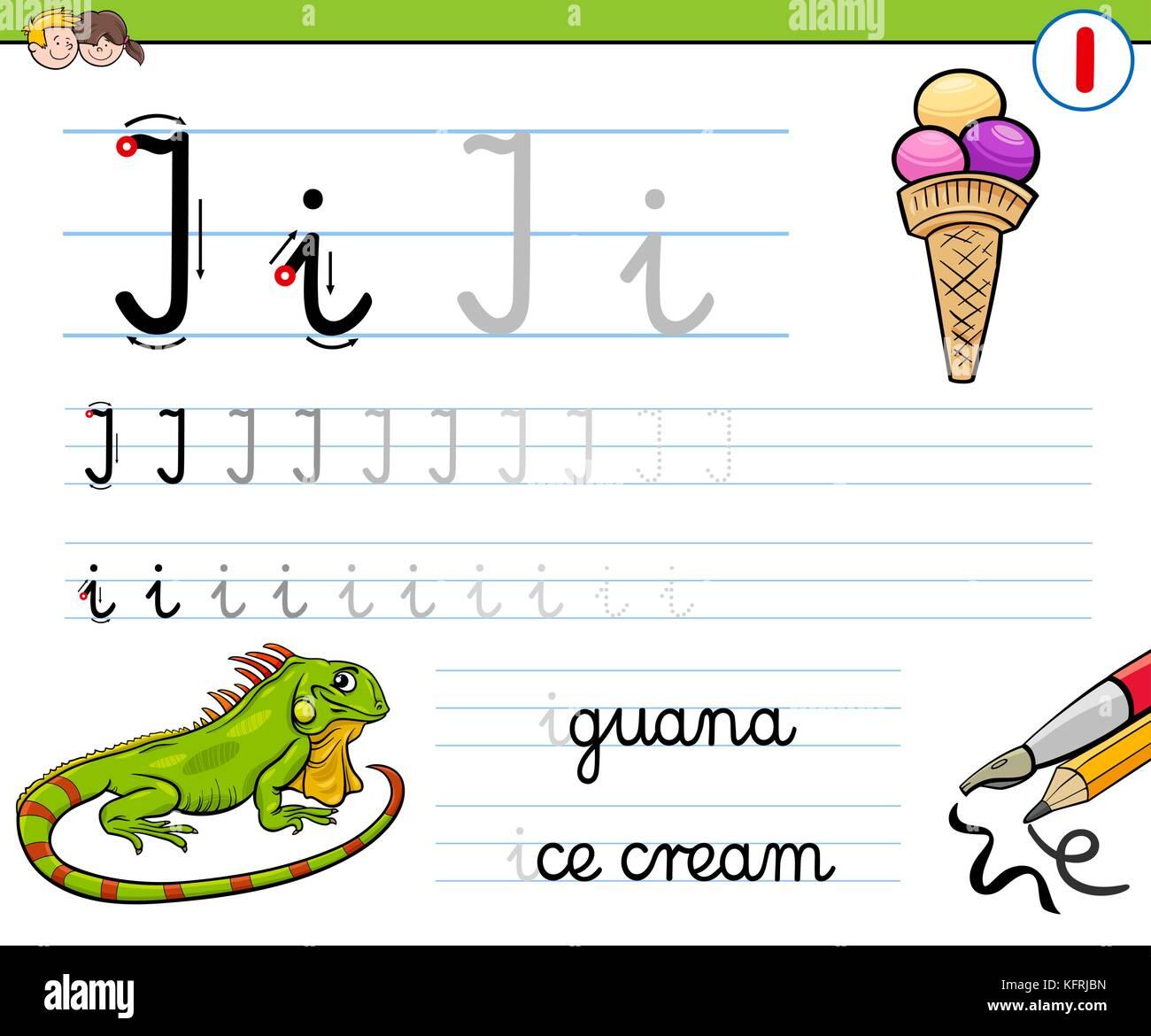 Cartoon Illustration der Schreiben Fähigkeiten üben mit Buchstaben i ...
