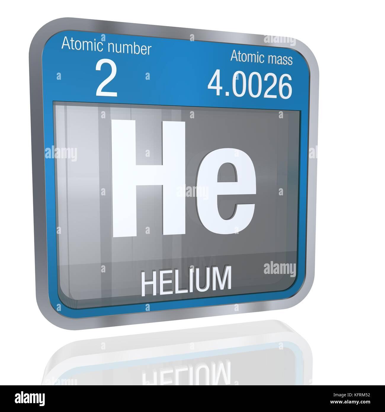 Helium Symbol in quadratischer Form mit metallischen Rahmen und ...