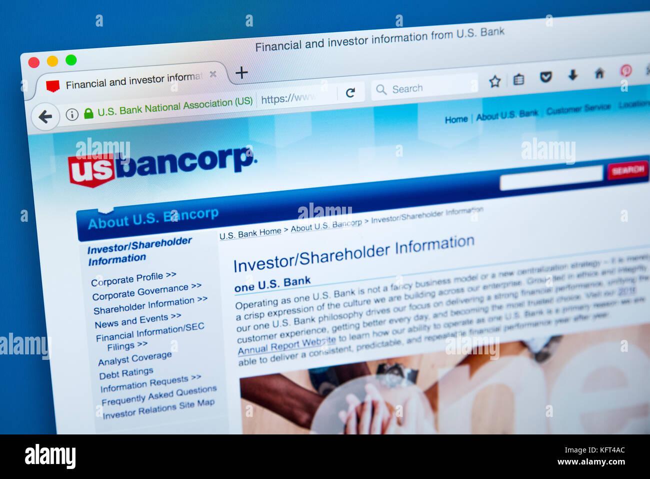 London, UK, 17. Oktober 2017: Die Homepage der offiziellen Website für US Bancorp - einer amerikanischen Bank Stockbild
