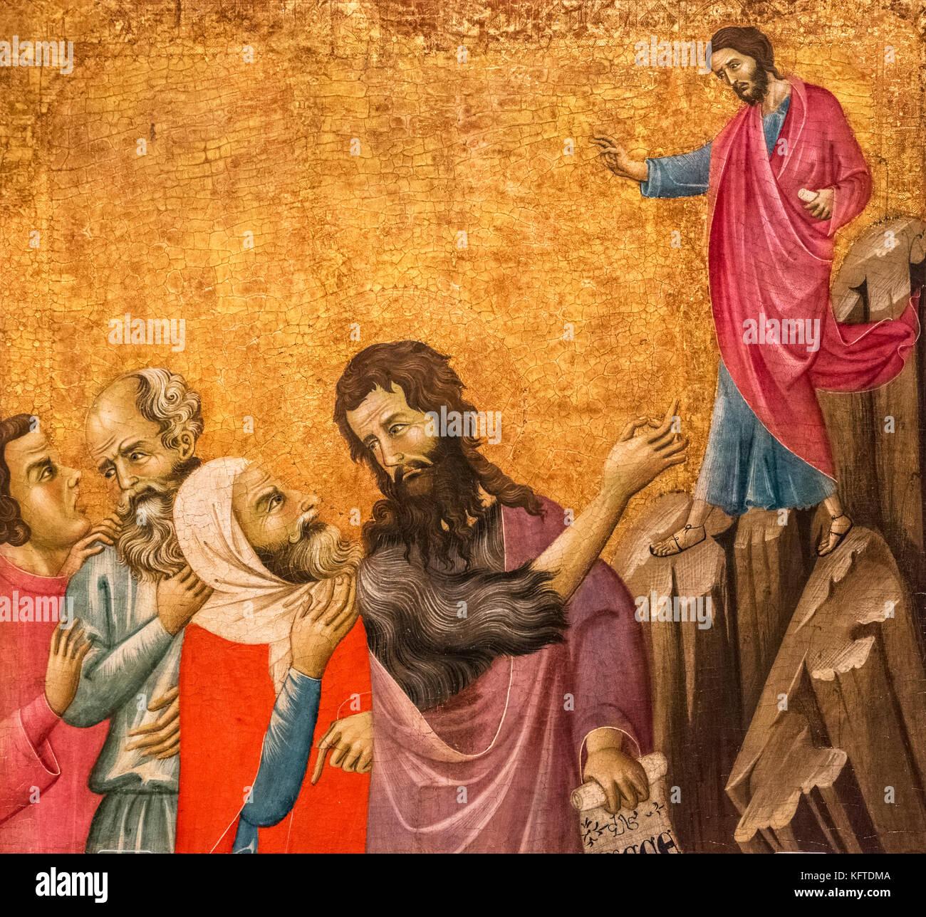 Das Zeugnis des Johannes der Täufer von Meister von San Torpe (active C. 1290-1325), Tempera auf panel, c 1310 Stockbild