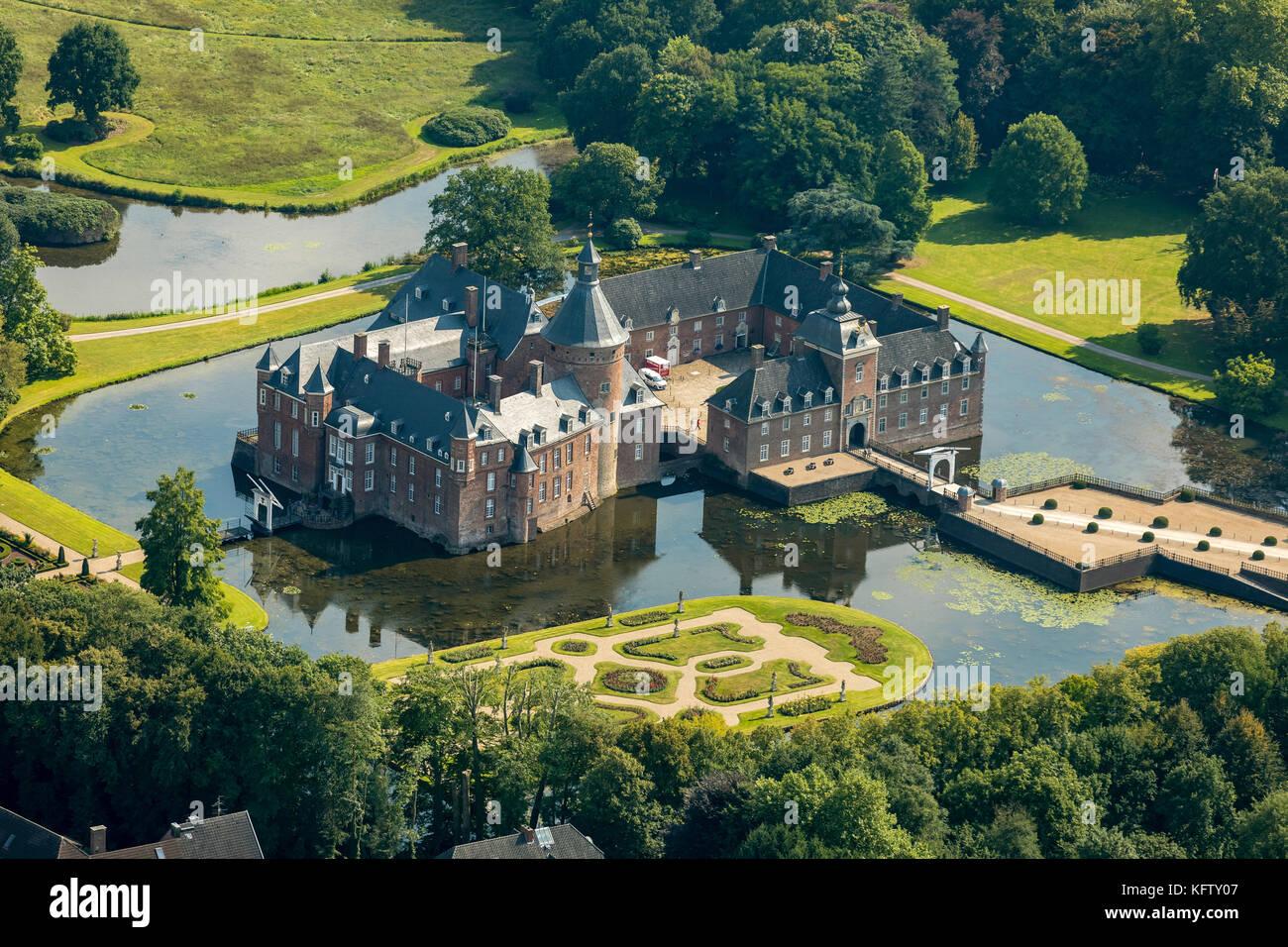 Isselburg, Niederrhein, Romantik Parkhotel Wasserburg Anholt, Museum Wasserburg Anholt, mit barocken Karten, Wasserburg Stockfoto