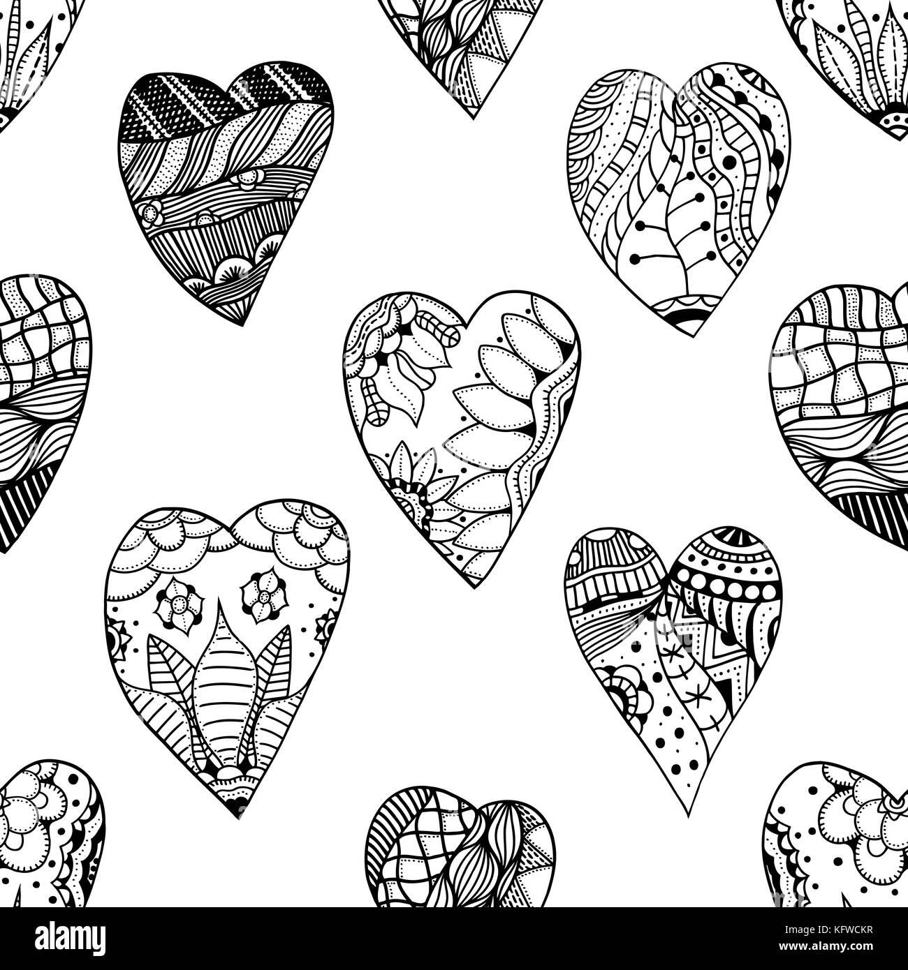 Hand gezeichnet dekorative Herzen mit Liebe in Doodle, zentangle ...