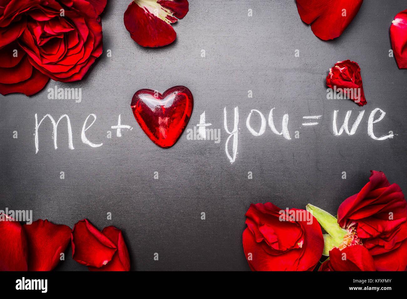 Schönen Valentinstag Karte Mit Roten Rosen Herzen Und Text Mich