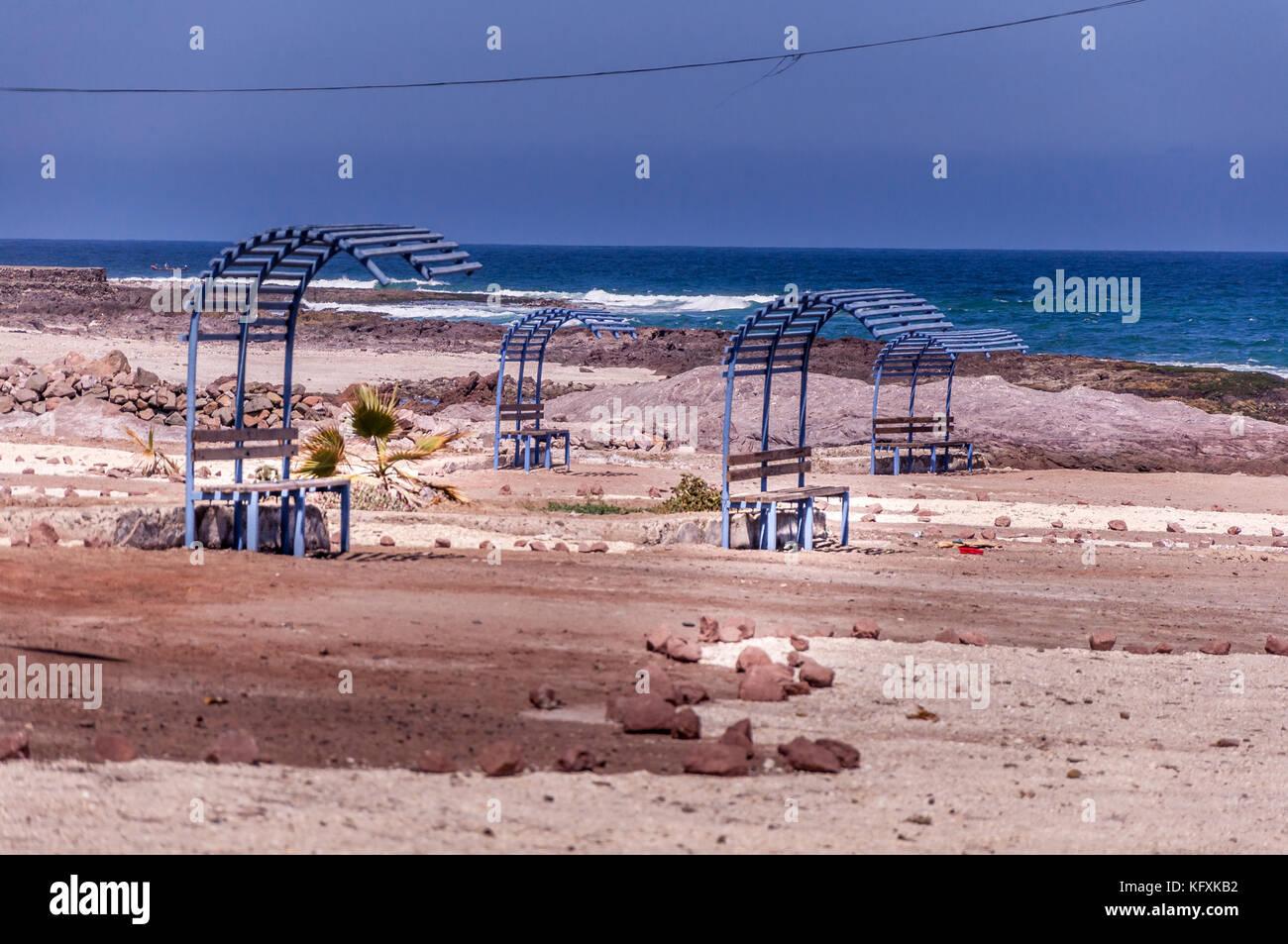 Long Shot eine Bushaltestelle in der Nähe von Antofagasta in Chile Stockbild
