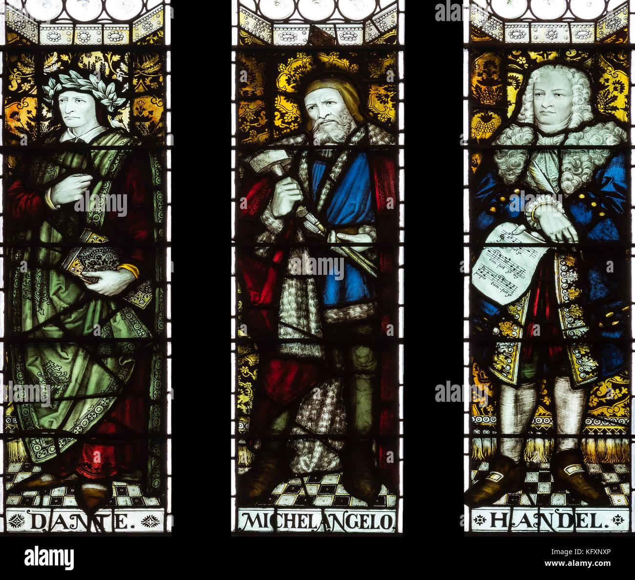 Berühmte europäische 'Künstler' aus früheren Jahrhunderten gefeiert in der John Rylands Stockbild