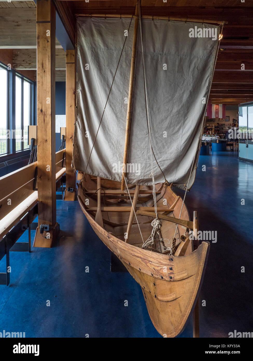Modell der Viking Boot, L'Anse aux Meadows National Historic Site, Highway 430, der Viking Trail, Neufundland, Stockbild