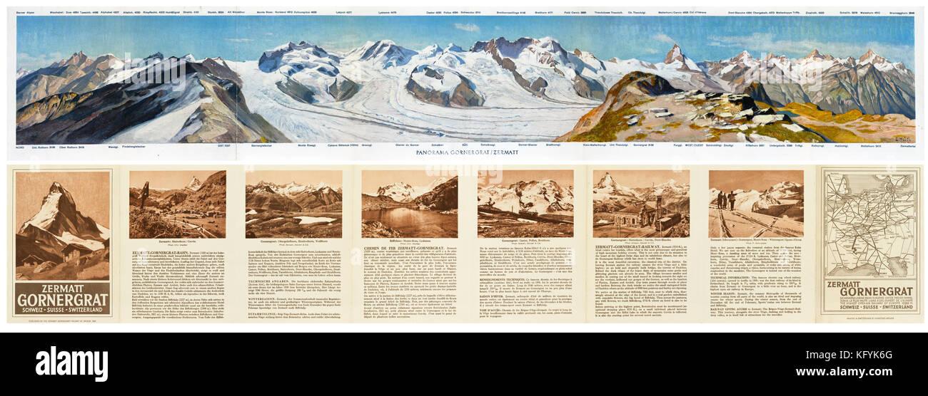 1929 gedrucktes Handbuch der Zermatt-Gornergrat Eisenbahn in Brigue, Schweiz. Der Panoramablick auf die Malerei Stockbild