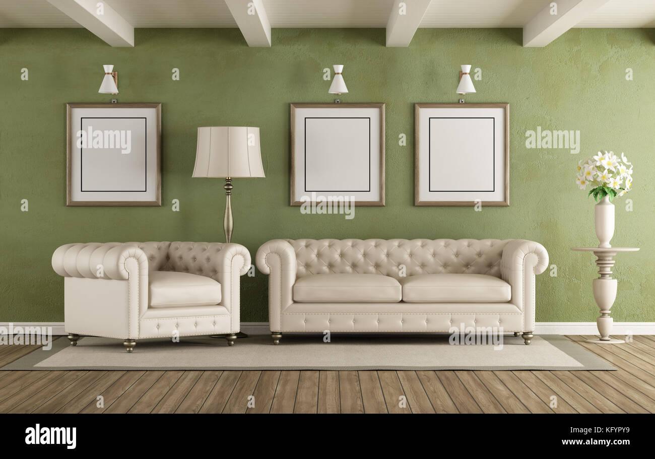 Grün und Weiß classic Wohnzimmer mit eleganten Sofa und ...